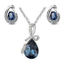 Silver Blue Sapphire Teardrop Wedding Set Made With Swarovski Crystal N196XE50