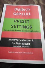DIGITECH  GSP1101 PRESETS & Tone/FX Libraries-SETTINGS + TEMPLATEs (Secured PDF)