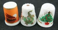 VINTAGE THIMBLES LOT OF 3 LIMOGES, SCHERZER AND QUEENS.