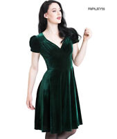 Hell Bunny 40s 50s Elegant Pin Up Dress JOANNE Crushed Velvet Green All Sizes