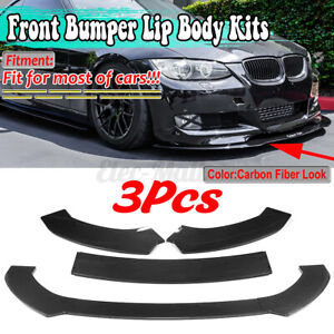 For BMW F30 F31 F32 F33 F22 Carbon Fiber Look Front Bumper Lip Spoiler Splitter
