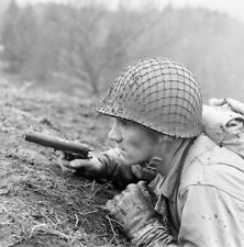 WW2 WWII Photo US Army Ranger with Colt 1911 .45 Pistol Scotland World War Two