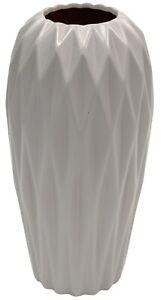 25cm Tall Ceramic Cylinder Vase Flower Vase Grey With Diamond Design