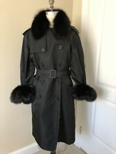 Oscar De La Renta Stunning Black Trench Coat W/ Removable Fur Collar And Cuffs