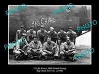 OLD LARGE HISTORICAL PHOTO OF US AIR FORCE 90th BOMB GROUP BIG CHIEF CREW c1940