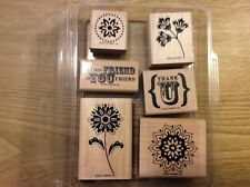 Stampin' Up! 6 Wooden Mounted Rubber Stamps Stamping True Friend Flowers Thank