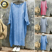 Womens Casual Loose Batwing Long Sleeve Blouse Tops Boho Stripe Baggy Maxi Dress