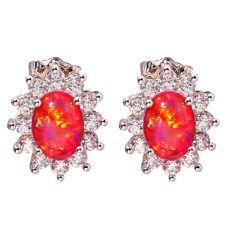 Jewelry Gemstone Stud Earrings 14mm Oh3976 Red Fire Opal Zircon Silver for Women