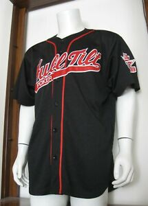 L Men #1 Rotter Full Tilt Poker Baseball Jersey Black Red Sewn Polyester EUC