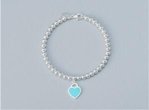 NEW  925 Silver Genuine Tiffany & Co.  Mini Heart Bead Bracelet With Box