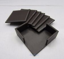 6 x Black PU Leather Double-Deck Coaster Set Placemat of Cup Mug Mat with Holder