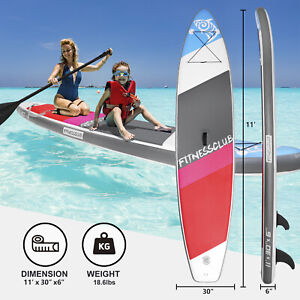 """11'Inflatable Stand Up Paddle Board Surfboard SUP w/Fin+Complete Kit+Bag 6""""thick"""