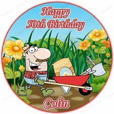 Personalised Gardening Gardener Man Edible Icing Birthday Party Cake Topper