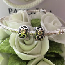 PANDORA TWO TONE PAIR OF 'PERIDOT HEARTS SCROLL' CLIPS/STOPPERS #790382PE