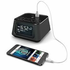 Majority DAB FM Radio Digital Alarm Clock With USB Charging Black