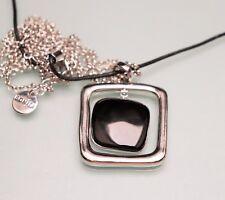 Schwarz Silber Bonita Statement Damen Halskette Kette Schwarz 40-46 cm