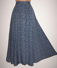 NWT Laura Ashley vintage spring 95 blue flowing viscose button through skirt 14