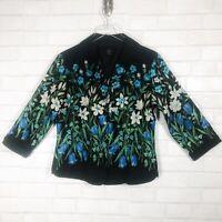 SilkLand Silk Lined Floral Black Blazer
