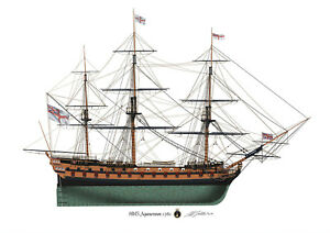 HMS Agamemnon Vintage 64 gun warship 1781 Profile artwork  Glossy Print Nelson