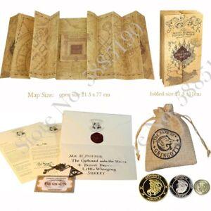 Harry Potter Marauder's Map Hogwarts Letter Necklace Gringotts Coins Gift Pack