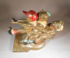 Antique Metal Figural Bookend With 3 Boys And a Dog & Poly-chrome Paint.