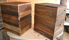 Set 2 Reclaimed Barn Wood Cube Table Modern Rustic Urban Chic Loft Removable Top