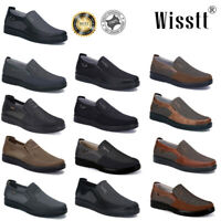 Men's Leather Casual Shoes Breathable Comfy Antiskid Loafers Slip on Moccasins
