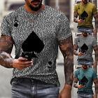 ❤️ Mens Poker Printed Crew Neck T-Shirt Tops Casual Slim Fit Short Sleeve Blouse