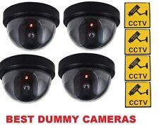 4 X Manichino Falso Cctv CUPOLA Telecamera Di Sicurezza Rosso Lampeggiante LED Interni Esterni Nero