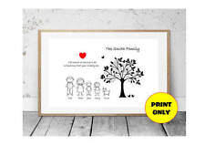 A4 Personalised Family Tree Surname Print Black & White Stick Characters