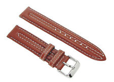 18mm Timex Brown Double Stitched E-Z Pin Genuine Leather Sports Watch Band