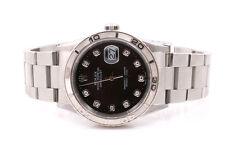 Rolex Mens Thunderbird Datejust - Factory Black Diamond Dial - Oyster Band 16264