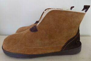 Dearfoams Suede Notch Boot Slipper Chestnut Tan Men's Size 11