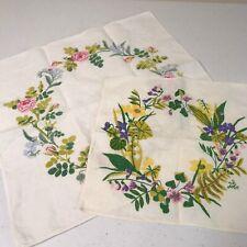 Swedish Tablecloth Topper Linen Flowers Floral Sweden Set of 2 Signed G. Jobs