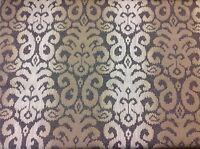 3 Yds Rare Vintage KRAVET Roma Brown Ivory LUXURIOUS VELVET Burnout Upholstery Fabric
