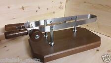 ferma prosciutto - morsa per prosciutto in acciaio inox - base in legno di noce