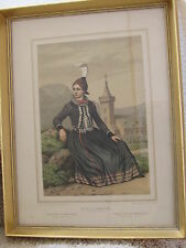 Young girl from Modrevallis  F C Lund Lithograph DENMARK Framed Iceland clothes