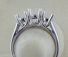 3 STONE RING SETTING 14K WHITE GOLD RING MOUNTING 1CT TO 1.25CT  TOTAL WEIGHT