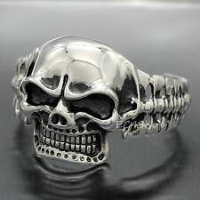 Skeleton Cuff Men Bangle Biker Bracelet Huge & Heavy Stainless Steel Skull Head