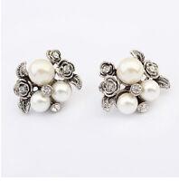 1 pair New Fashion Women Lady Elegant Crystal Rhinestone Ear Stud Earrings Gift