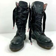 Dr Martens Womens SIze 7L Black Triumph Plaid Leather Combat Punk Boots