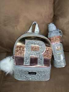 """JUSTICE MINI BACKPACK & WATER BOTTLE INITIAL """"R"""" SHIMMERING ROSE/GOLD/SILVER WOW"""