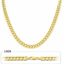 "8.20mm 24"" 47 gm 14k Gold Solid Yellow Men's Flat Cuban Necklace Polished Chain"