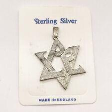 VINTAGE SOLID STERLING SILVER LARGE SIZE LOVE STAR OF DAVID PENDANT FOR NECKLACE