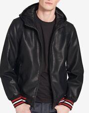 Tommy Hilfiger Men's Faux-Leather Hooded Bomber Jacket