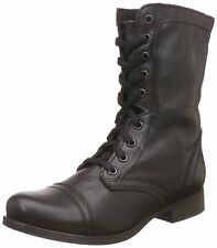 Steve Madden Womens TROOPA Leather Round Toe Mid-Calf, Black Leather, Size 9.0 g