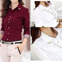 Premier Ladies Womens Long Sleeve Poplin Shirt Blouse Top Business Work UK 6-16