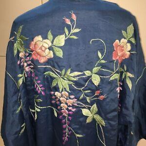 True vintage silk dressing gown kimono midnight blue embroidered