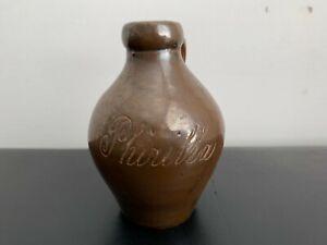 "Antique Miniature Albany Slip Scratch Jug ""PHIRILLA"" Stoneware Liquor Mini Jug"