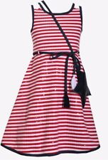 Bonnie Jean Little Girl's Striped Star Spangled Fit & Flare Dress-Size-5-Red